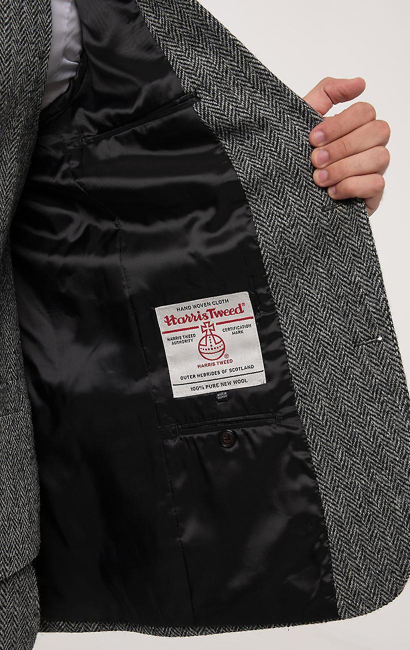 Skotsk Harris Tweed Herre grå jakkesæt jakke Regular fit 100% uld sildeben