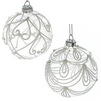 Single 8cm Clear Glass Christmas Tree Bauble with White Line Drawing Decoration