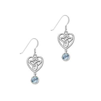 Celtic Holy Trinity Knot Love Heart Shaped Drop Style Pair Of Earrings - A Blue Topaz Stone