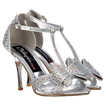Onlineshoe Diamante Crystal T-bar Mid Heel - Diamante Jewelled Bow - Diamante de Plata