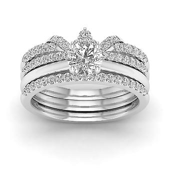 IGI Certified 14k White Gold 1 Ct Round Cut Diamond Crowned Bridal Ring Set