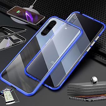Für Xiaomi Mi 9 Lite Magnet / Metall / Glas Tasche Case Blau / Transparent + 0,26 mm H9 Hart Glas