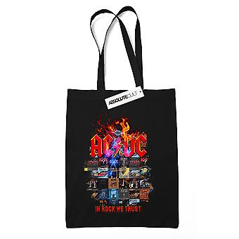 AC/DC In Rock We Trust Cover Tote Bag