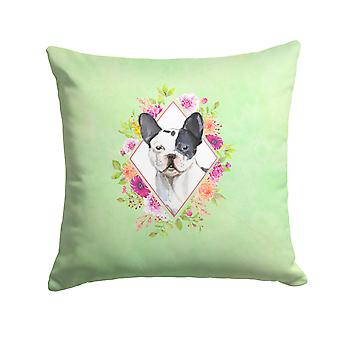 Black and White Frenchie Green Flowers Fabric Decorative Pillow