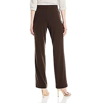 Sag Harbor Women's Plus Size Slimming Panel Pant, Brown, 22W, Brown, Size 22W