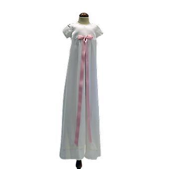 Dopklänning Grace Of Sweden, Stilren Med Smal Rosa Rosett  Pr.ka