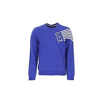 EA7 Emporio Armani Cotton Crew Neck Blue Sweatshirt