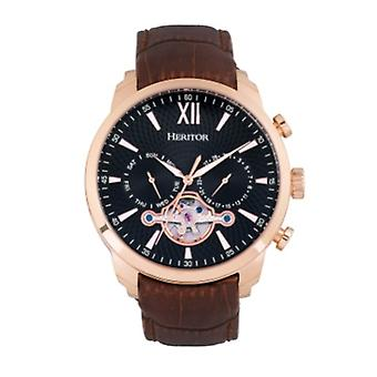 Heritor Automatic Arthur Semi-Skeleton Leather-Band Watch w/ Day/Date - Rose Gold/Black