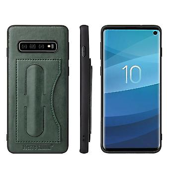 For Samsung Galaxy S10e Case, Navy Green Luxury Leather Kickstand Back Cover