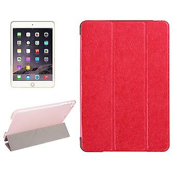For iPad Mini 4 Case,Modern Silk Textured 3-fold Leather Folio Cover,Red