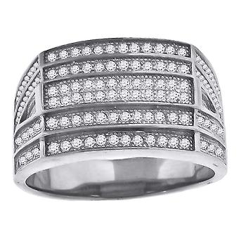 925 Sterling Silver CZ Cubic Zirconia Simulated Diamond Cluster Rectangle Head Mens Fashion Ring Band Jewelry Gifts for