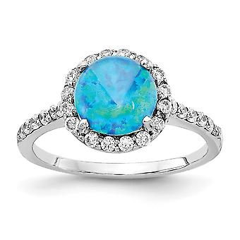 Cheryl M 925 Sterling Silver Lab Simulated Blue Opal Ring Jewelry Gifts for Women - Ring Size: 6 to 8