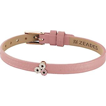 Zeades Sbc01035 bracelet - Bracelet Rose Gold Leather Crystal woman