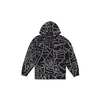 Supreme Gonz kirjailtu kartta huppari musta-vaatetus