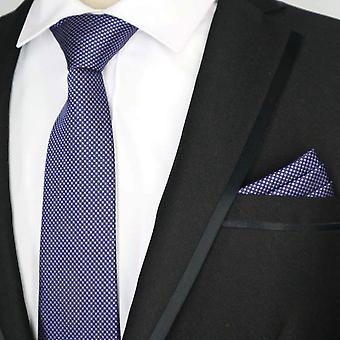 Blue & purple ditsy matching tie & pocket square set