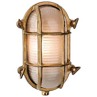 Firstlight Marina Nautical Oval Cast Brass Flush Outdoor Wall Bulkhead Light