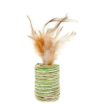Ferribiella Cat Toy-Cylinder W/Feathers  (Cats , Toys , Plush & Feather Toys)