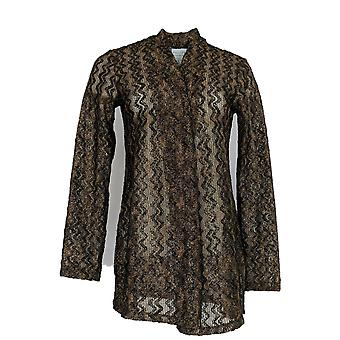 سوزان غرافر المرأة & ق سترة GRAVER المعدنية Knit الكارديجان الذهب A370894