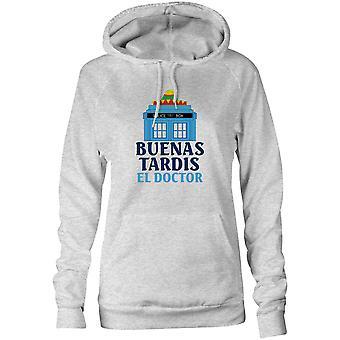 Damen Sweatshirts Kapuzen Hoodie - Polizei Box - Buenas Tardis El Doctor