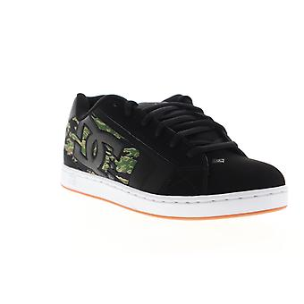 DC Net SE  Mens Black Leather Camouflage Low Top Skate Sneakers Shoes
