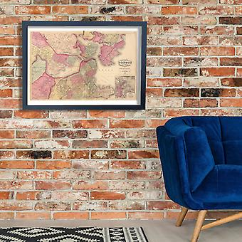 Boston City Map Walling and Gray 1871 Poster Print Giclee