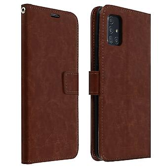 Vintage Series, flip wallet case for Samsung Galaxy A51 - Brown