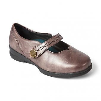 هابط كاي السيدات الجلود سوبر واسعة (4e/6e) ماري جين أحذية روز الذهب