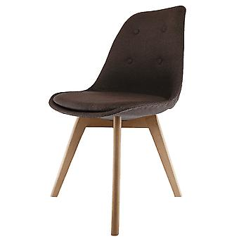 Fusion Living Eiffel Inspired Brown Fabric Dining Chair With Squared Light Wood Legs