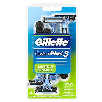 Gillette customplus-3, disposable razors, 4 ea