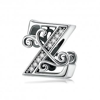Sterling Silver Alphabet Charm Letter Z With Transparent Zirconia Stones - 5997
