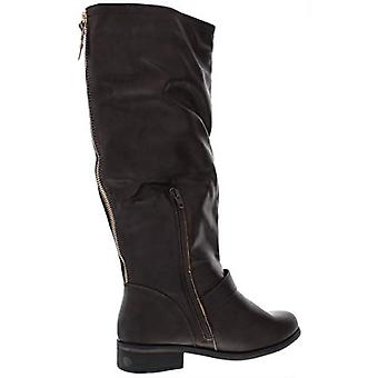 XOXO Womens Mikler Wide Calf Faux Leather Riding Boots Brown 7.5 Wide (C,D,W)