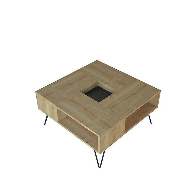 Table basse-apos; Lord Color Rovere, Noir en puce melaminique, Métal 80x80x38.6 cm