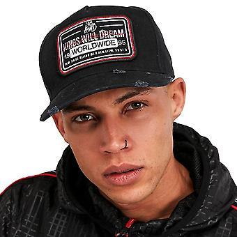 Kings Will Dream | Kwd Farfield Logo Badge Distressed Pinch Peak Baseball Cap - Black