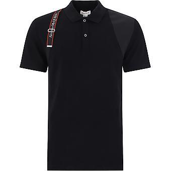 Alexander Mcqueen 625245qpx331000 Männer's schwarze Baumwolle Polo Shirt