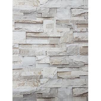 3D Slate Stone Brick Effect Wallpaper Grey Beige Realistic Textured Vintage