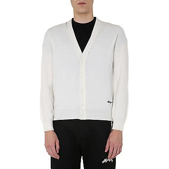 Alexander Mcqueen 603242q1wyd9018 Uomini's White Wool Cardigan