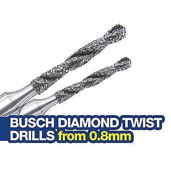 Exercices à torsion de diamant montés Busch - Choisissez de 0,8 à 1,5 mm de diamètre