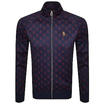 Luke | 0371 Lord Larry All Over Logo Funnel Zip Track Top - Navy