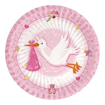 Witamy Dziecko Różowy 24cm Paper Party Talerze
