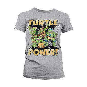 Kvinnor & apos, s TMNT Turtle Power! Grå Monterad T-Shirt