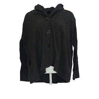Cuddl Duds Women's Regular Sweater Fleecewear Cardi V-Neck Black A369667
