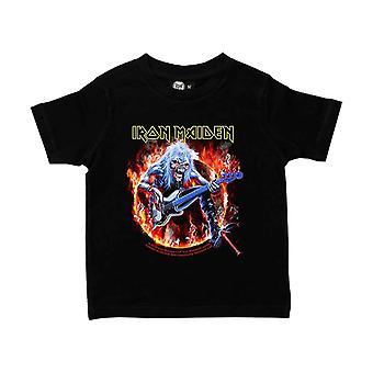Iron Maiden Kids T Shirt Fear Live Flame nouveau officiel noir (2-15 ans)
