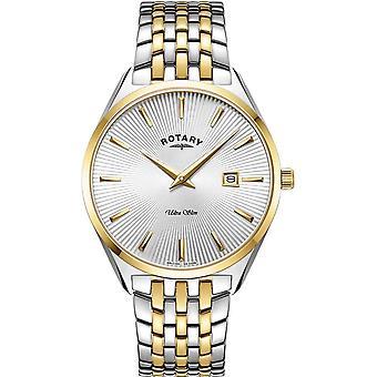 Rotary GB08011-02 Men's Ultraslim Silver/Gold Two Tone Wristwatch