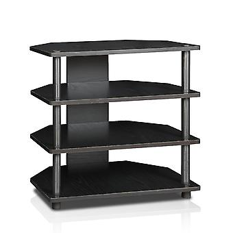 Furinno 15093BW/BK Turn-N-Tube Easy Assembly 4-Tier Petite TV Stand, Blackwood