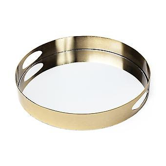"""15"""" Antiqued Gold Tone Metal With Mirrored Glass Bottom Tray"""