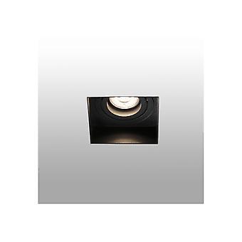 Musta Kallistettava neliö upotettu Downlight Trimless, GU10