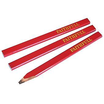 Faithfull Carpenter's Pencils - Red / Medium (Pack of 3) FAICPR