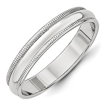14k Ouro Branco Sólido Polido Ggravável 4mm Milgrain Band Ring Jewely Gifts for Women - Ring Size: 4 a 14
