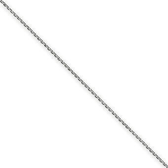 14k White Gold Polished Sparkle Cut Lobster Claw Closure 1.65mm Solid D Cut Cable Chain Anklet Lobster Claw Jewelry Gift
