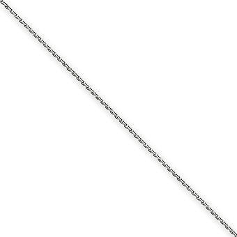 14k oro bianco lucidato Sparkle-Cut aragosta artiglio chiusura 1,65 mm cavo solido D-Cut catena cavigliera - moschettone - lunghezza: